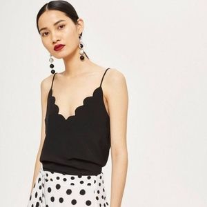 NWOT Topshop • Scalloped Camisole Top Black